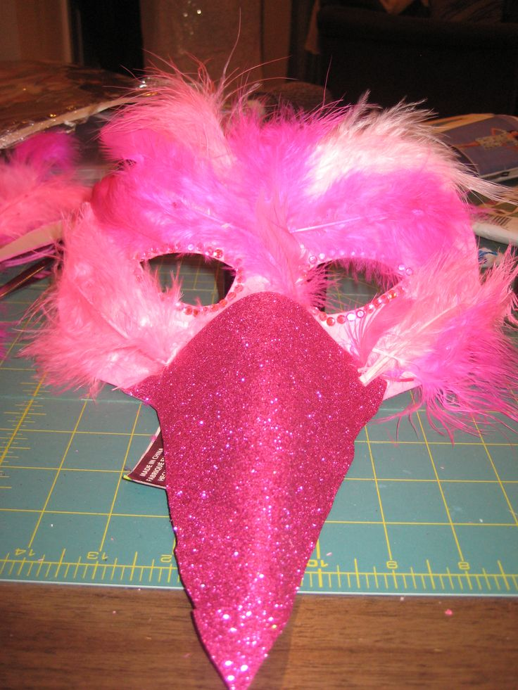 Flamingo Kostüm Maske mit Schnabel