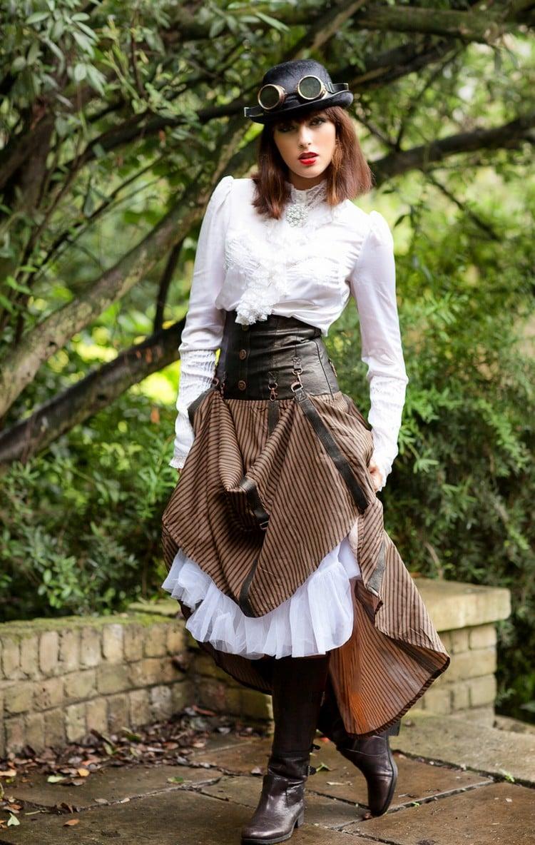 Steampunk Kleidung Frau Coursage Schweißerbrillen