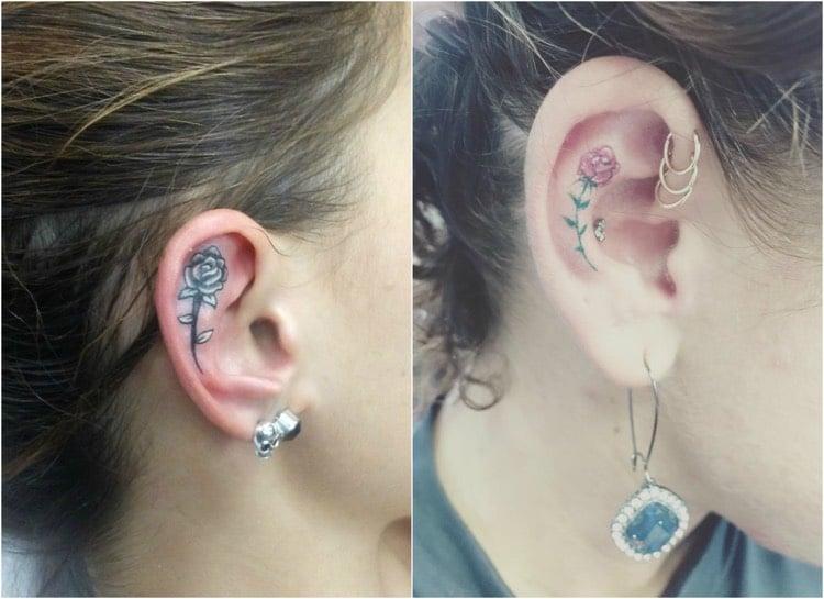 Tattoo Ranke Rosen Ohr innere
