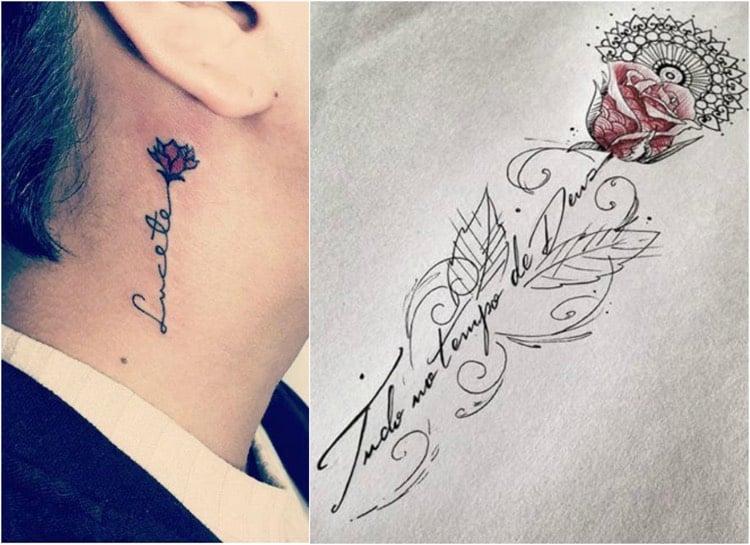 Tattoo Ranke dezent Hals Rose