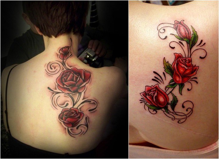 Tattoo Ranke Rüchen rote Rosen