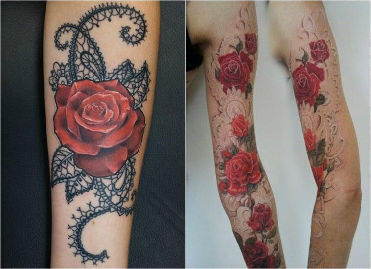 Tattoo Ranke Rosen Spitze farbig