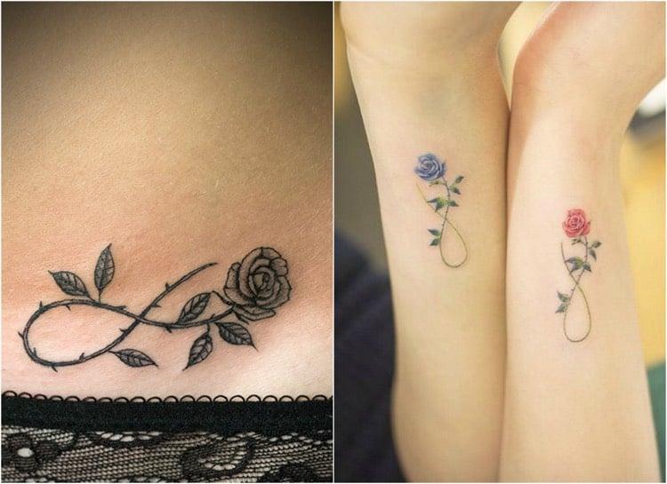 Tattoo Ranke Rosen Unendlichkeitszeichen