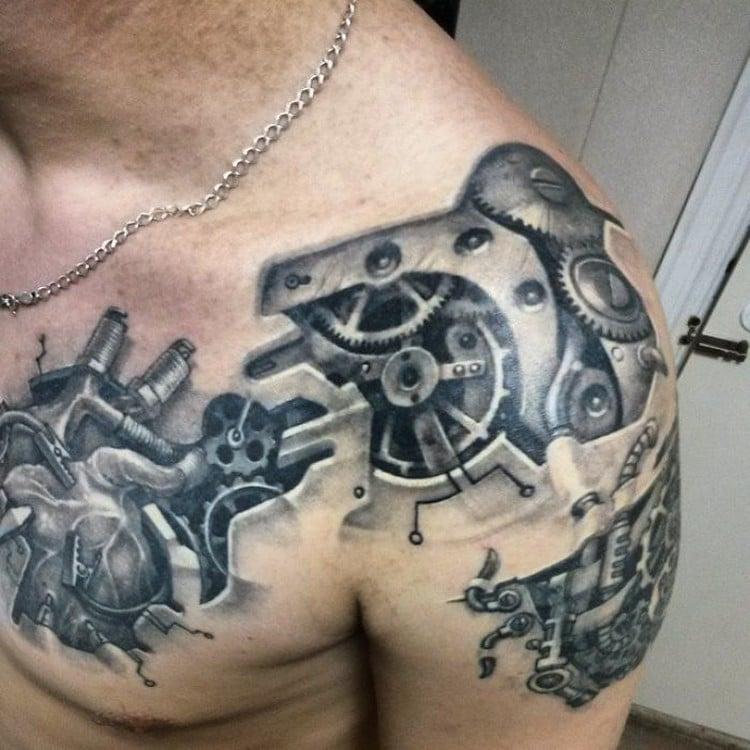 coole Tattoos für Männer Biomechanik Schulter Brust