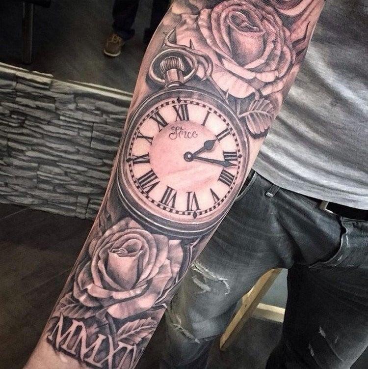 coole Tattoos für Männer Uhr Rosen