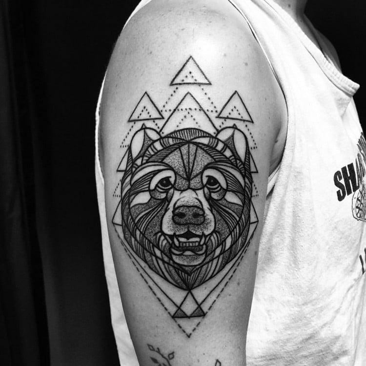 coole Tattoos für Männer geometrisch Bär