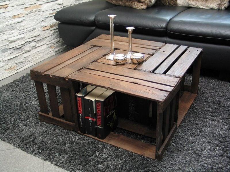 Tisch aus Weinkisten DIY Couchtisch herrlicher Look