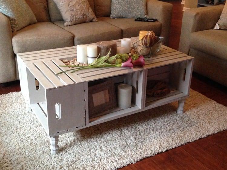 Tisch aus Weinkisten Couchtisch Wohnzimmer Cremefarbe