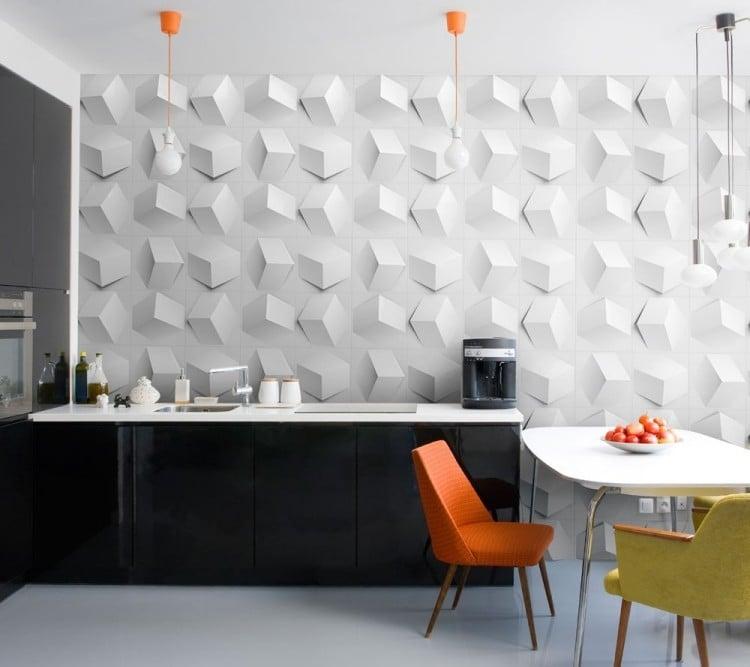 Küche Wandfarbe Weiß 3D Wandpaneelen