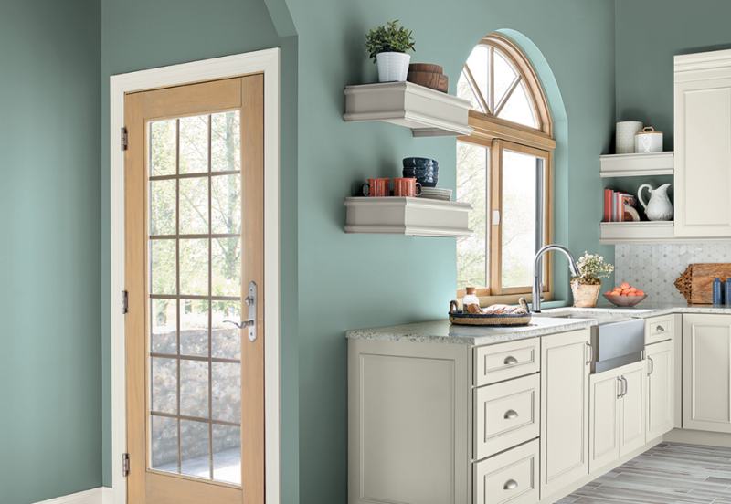 Küche Wandfarbe Blaugrau pastellig