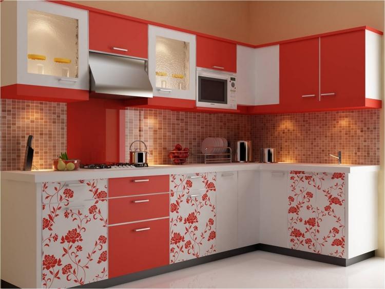 Küche Wandfarbe Hellbraun rote Akzente