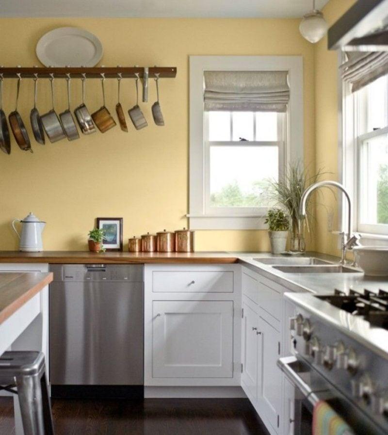 Küche Wandfarbe Pastellgelb einladend