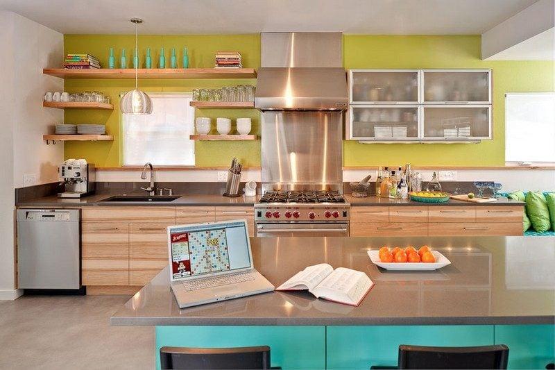 Küche Wandfarbe Olivengrün Pastellblau