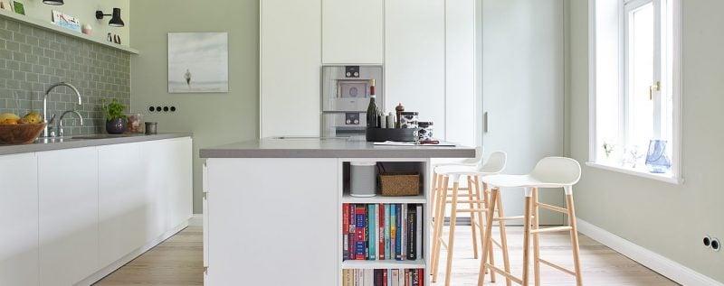 Küche Wandfarbe Salbei moderner Look