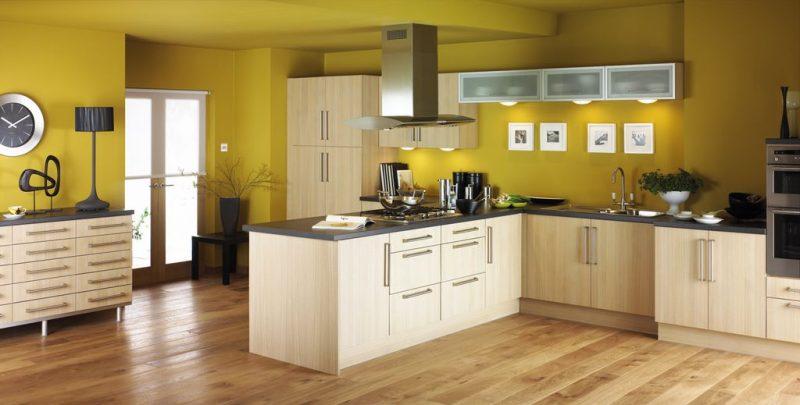 Küche Wandfarbe Senfgelb einladend