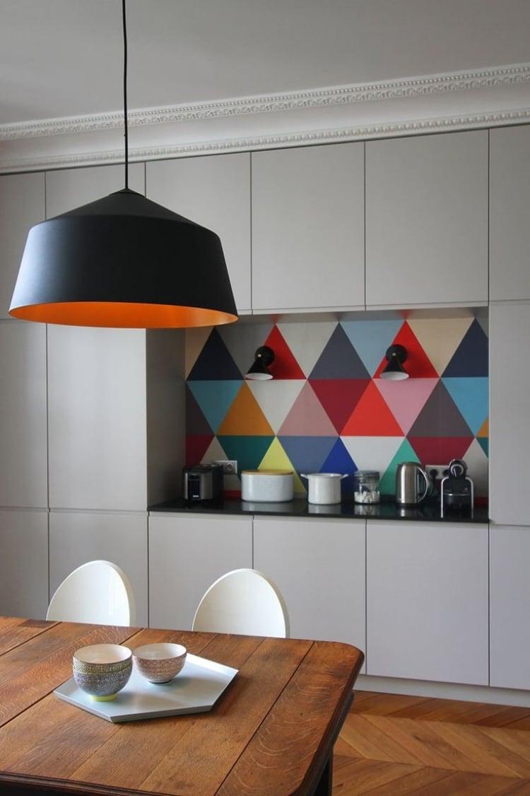 Küche Wandfarbe Tapete Muster geometrisch