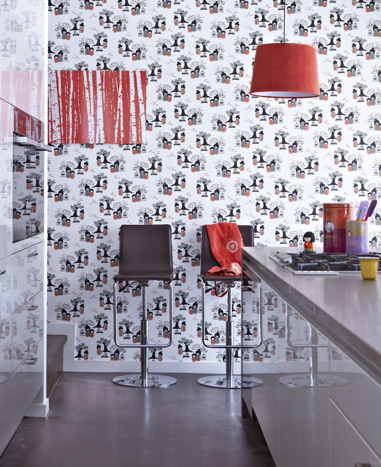 Küche Wandfarbe eindrucksvolle Tapeten