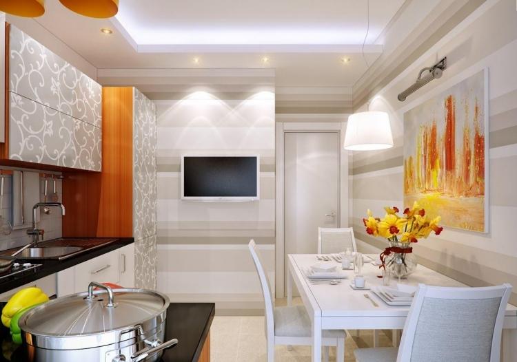 Küche Wandfarbe Weiß Orange LED Beleuchtung