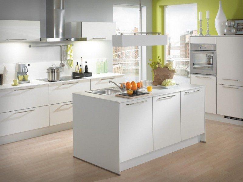 Küche Wandfarbe Weiß Grau modernes Interieur