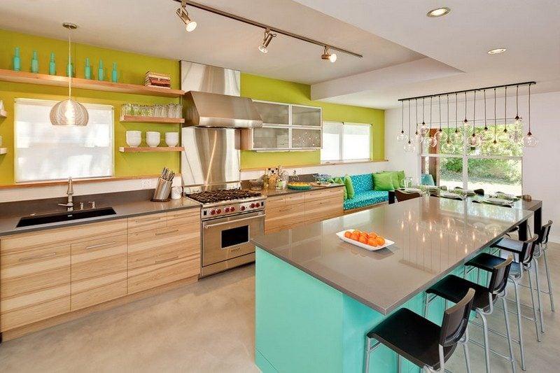 Küche Wandfarbe Olivgrün Akzentwand