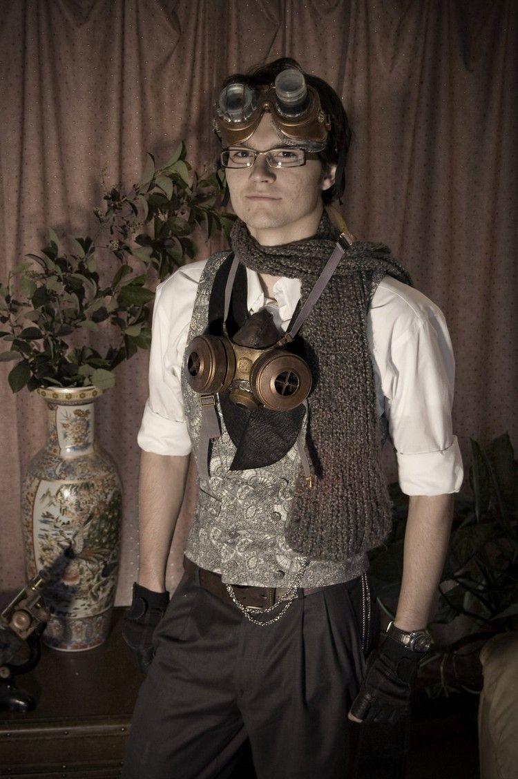 Steampunk Kleidung Mann Weste Schweißerbrillen elegant