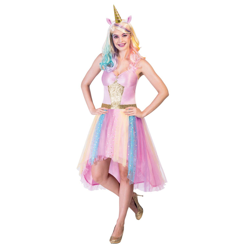 Einhorn Kostüme mit bunter Perücke