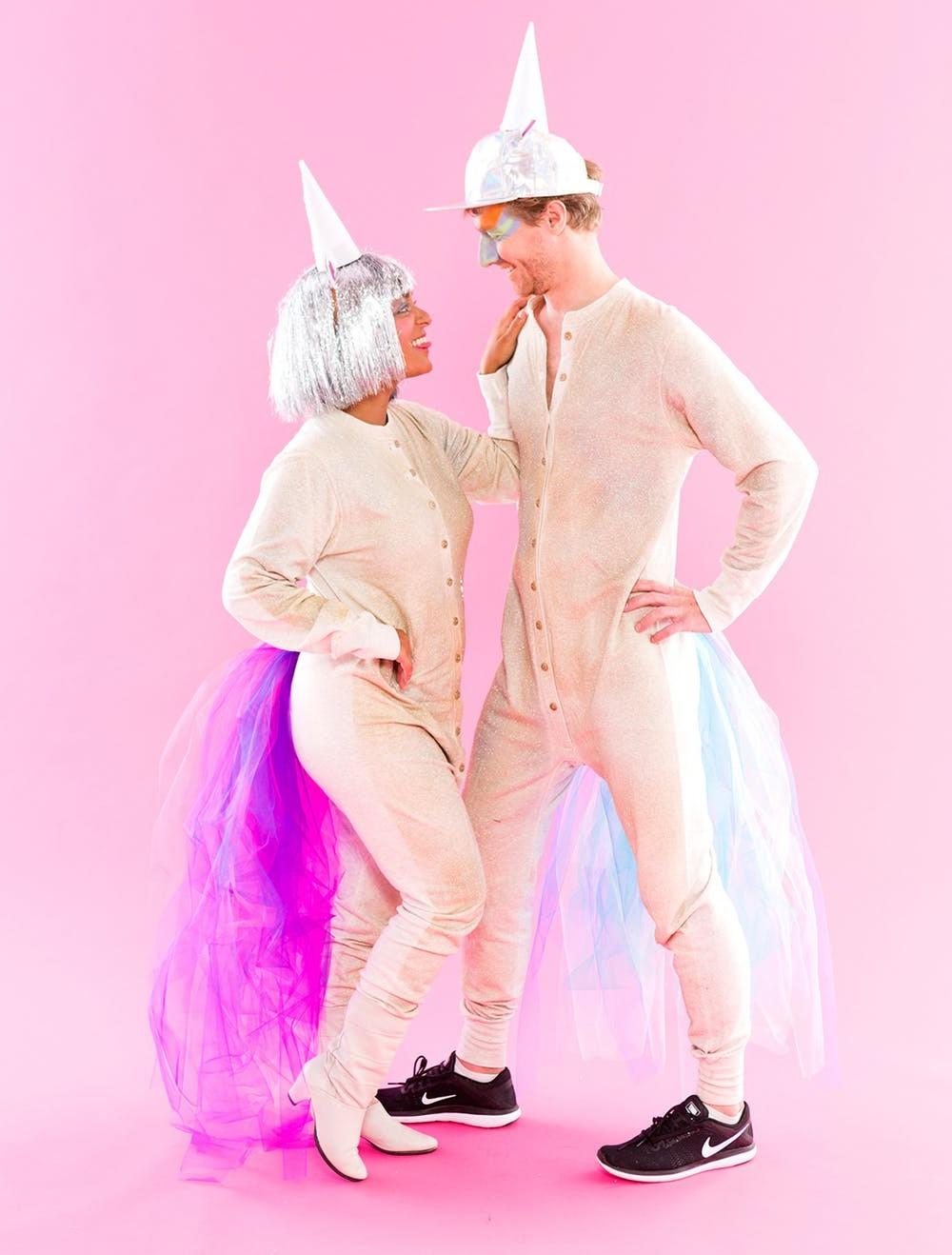 Partnerlook mit Einhorn Kostüm für Fasching