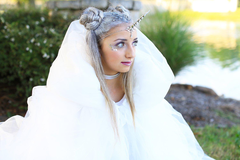 Einhorn Kostüm in Weiß und silbere Haare