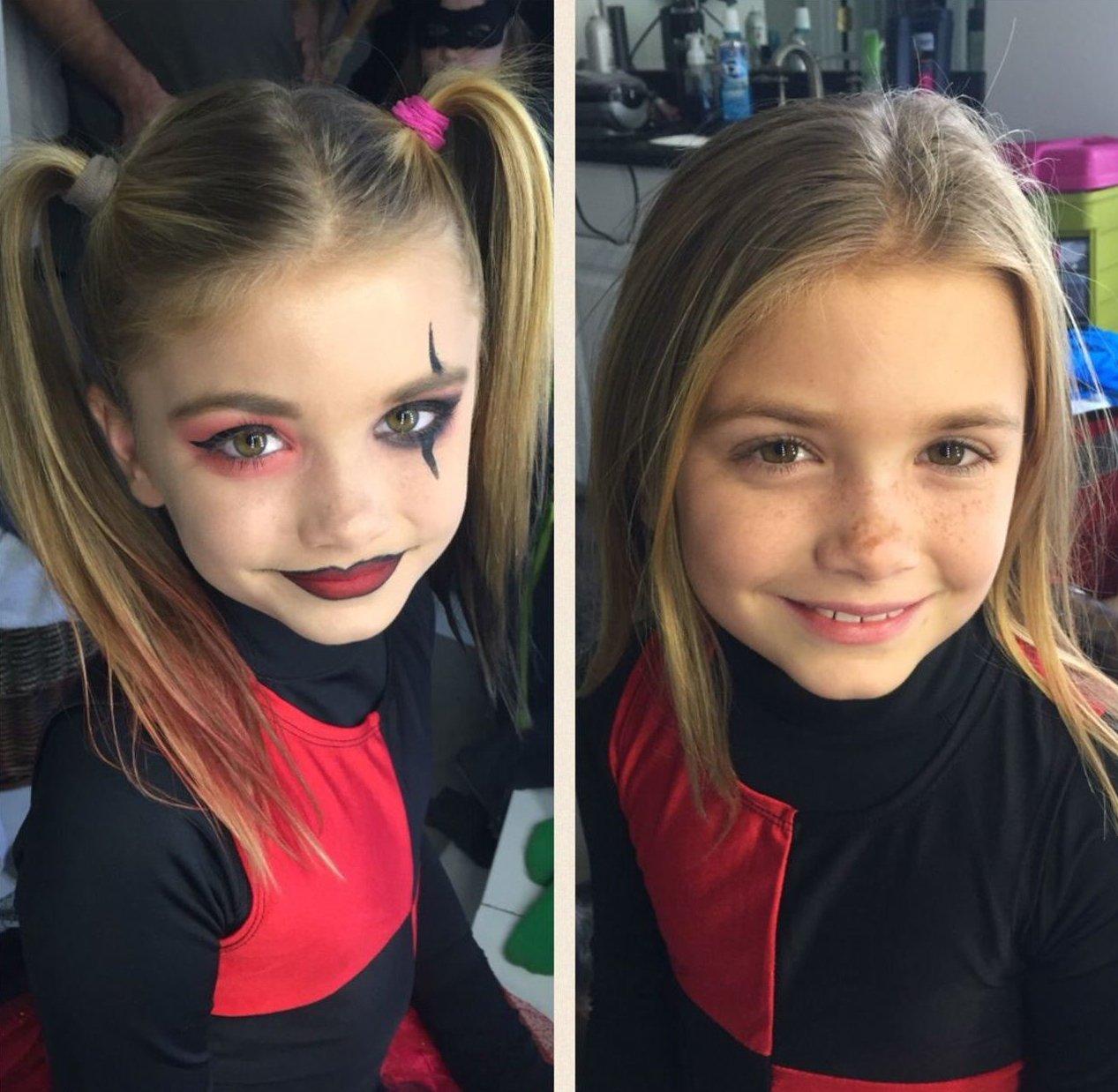 Harley Quinn Kostüm und Schminken für Mädchen