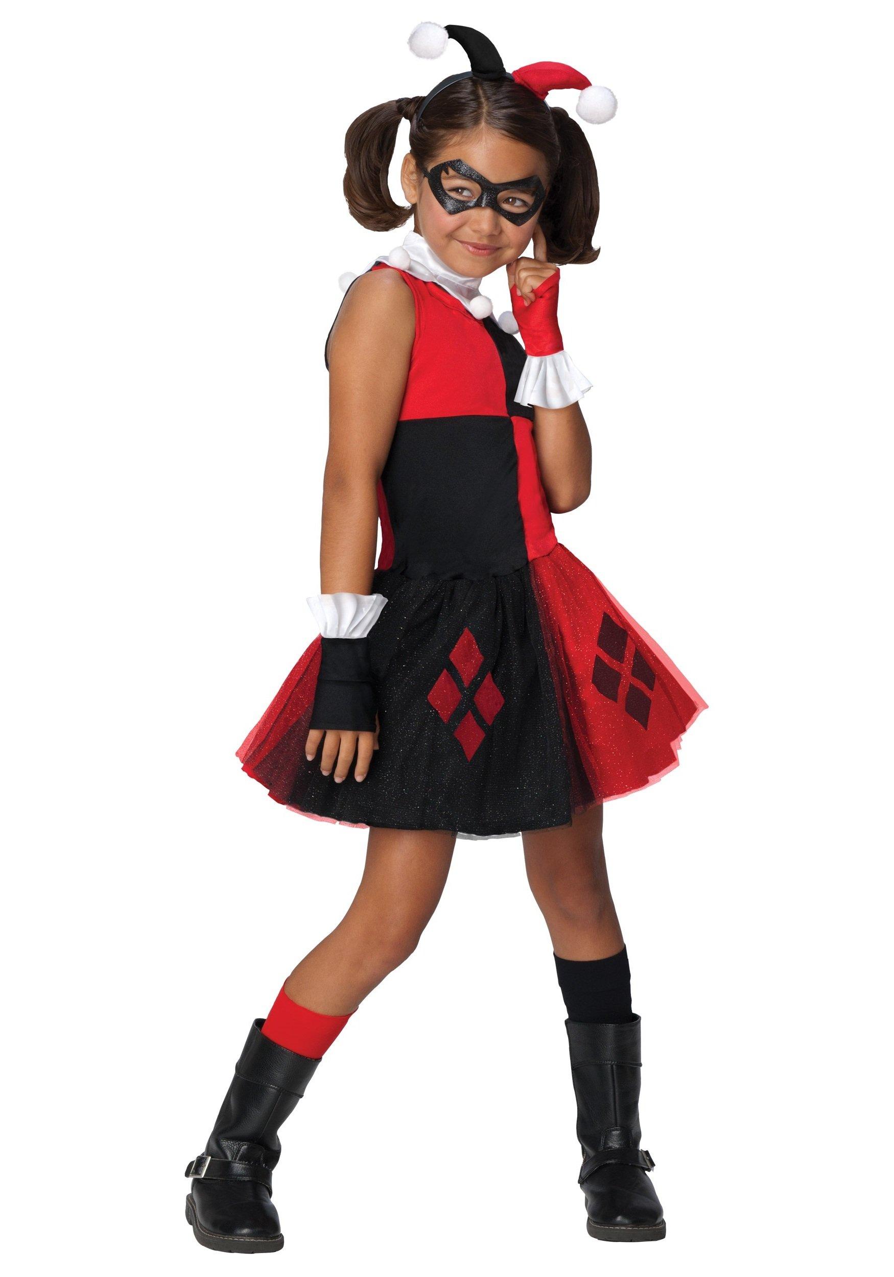 Harley Quinn Kostüm mit schwarzer Maske