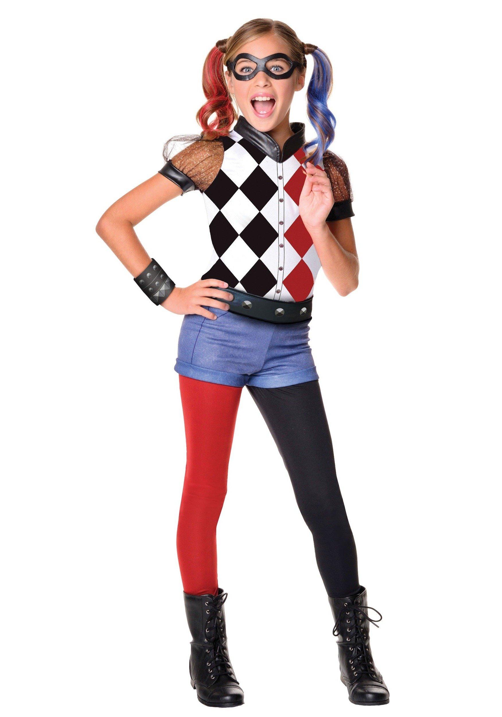 Harley Quinn Kostüm mit Strümpfen in Schwarz und Rot