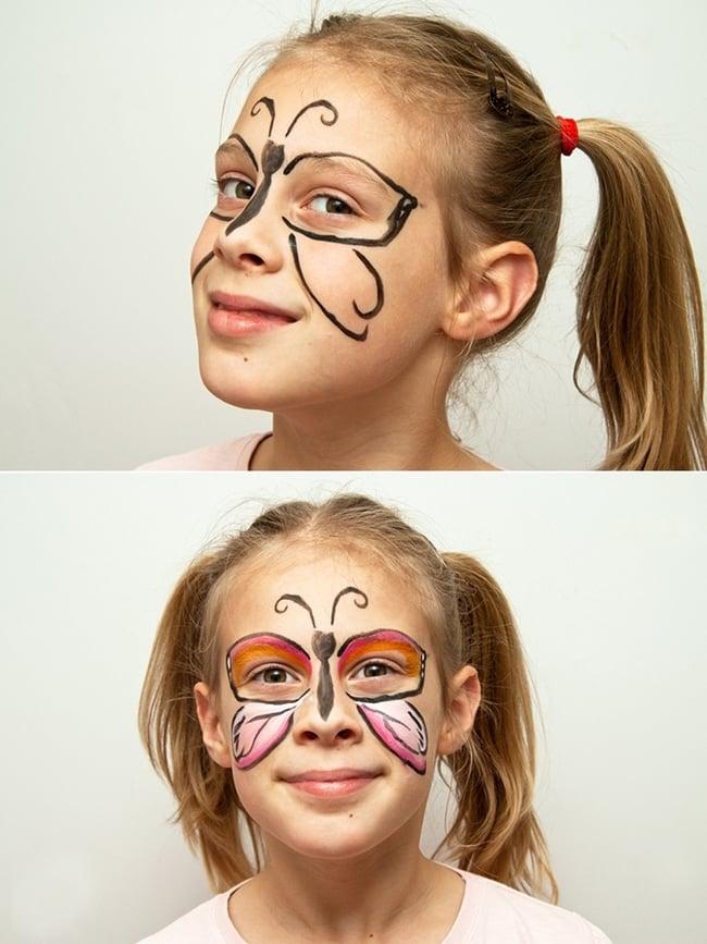Schmetterling schminken in einfachen Schritten