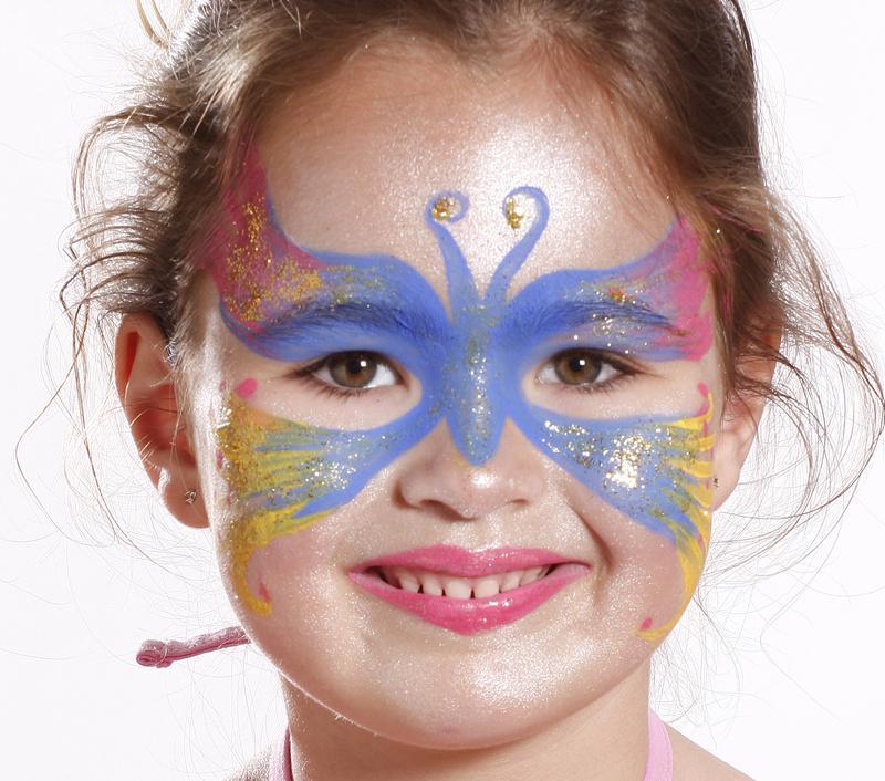 Kinderschminken Schmetterling für Fasching Verkleidung