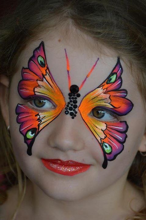 Kinderschminken Vorlagen für Fasching Make up Schmetterling