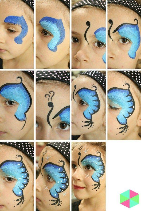 Kinderschminken Schmetterling malen - DIY Anleitung