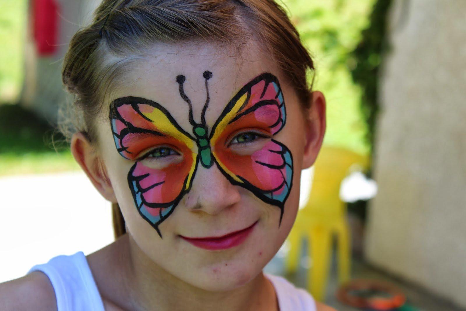 Kinderschminken Schmetterling - Vorlagen für Karneval