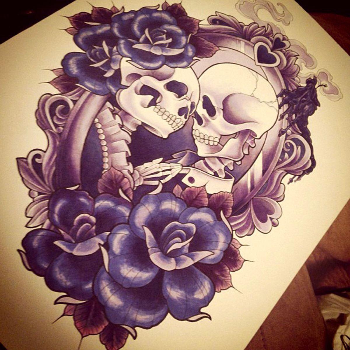 Liebes Tattoo mit Skeleton und Blumen