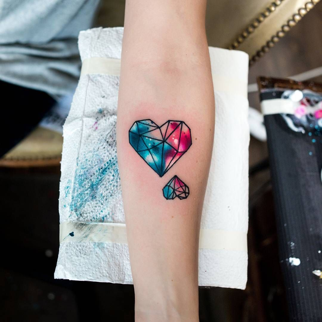 Liebes Tattoo Watercolor Herz Tattoo