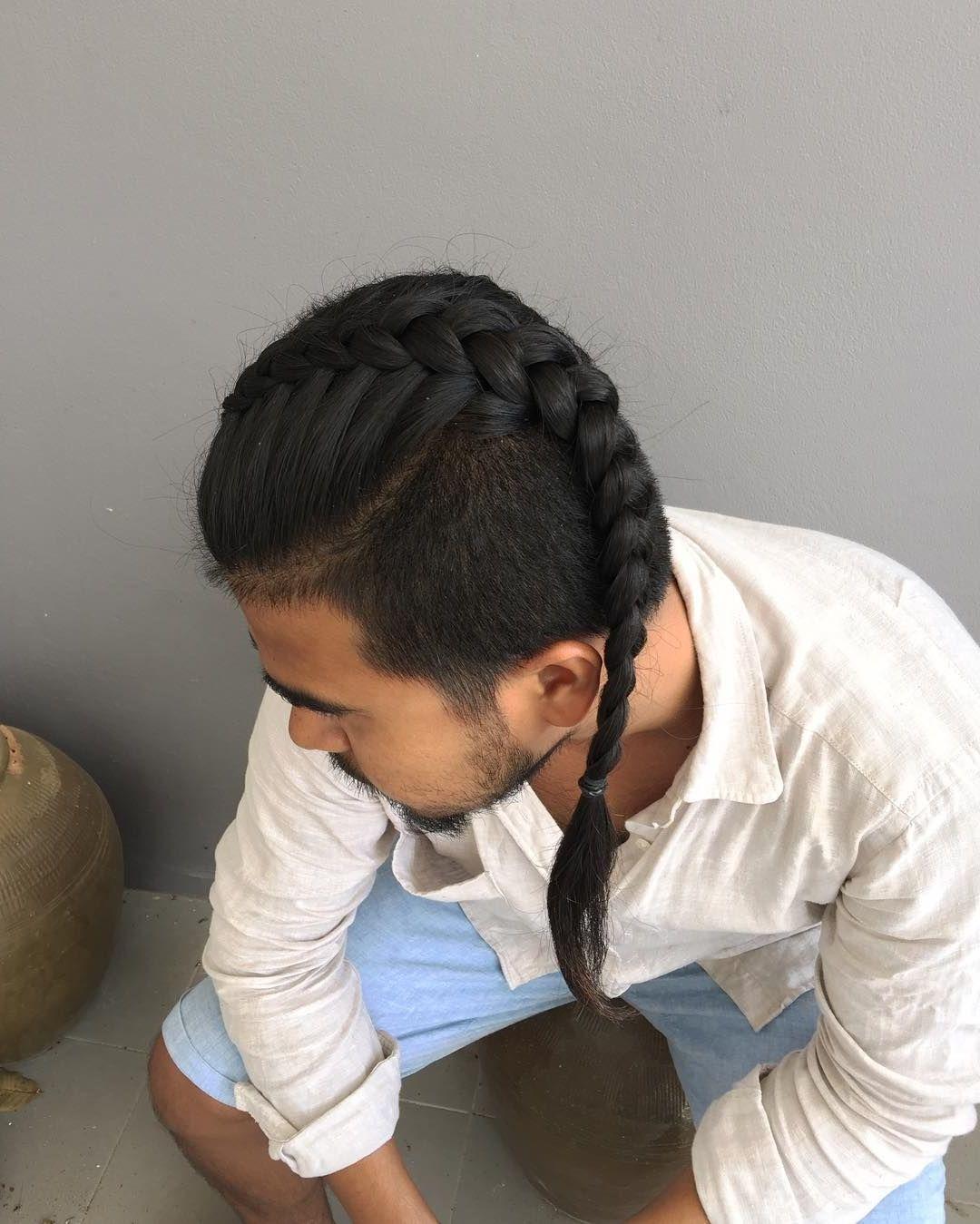 Männer Frisuren für lange Haaren Fischgrätzopf