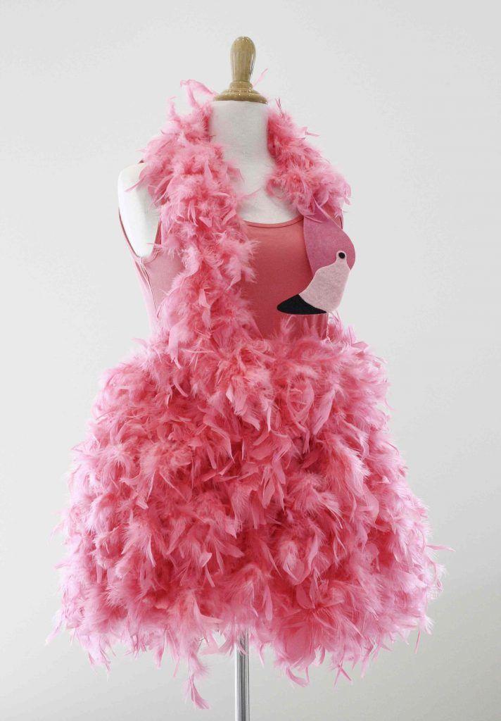 Flamingo Kostüm für Damen rosa Feder