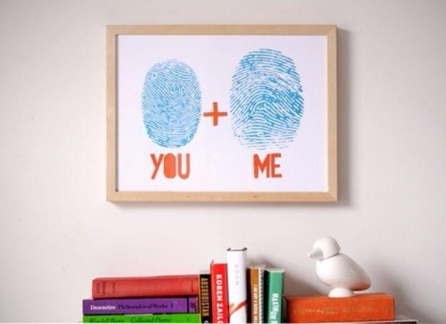 Ihre Fingerabdrücke ausdrucken und in einem Bild basteln zum Valentinstag