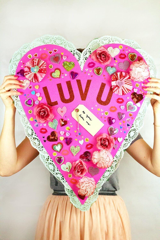 Ein großes Herz basteln zum Valentinstag basteln für Ihren Liebling