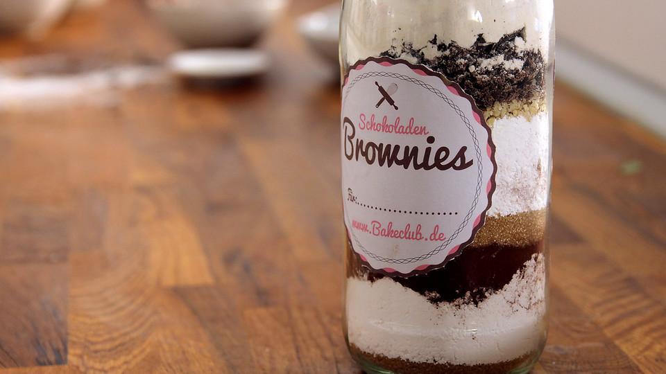 Backmischung im Glas Brownies