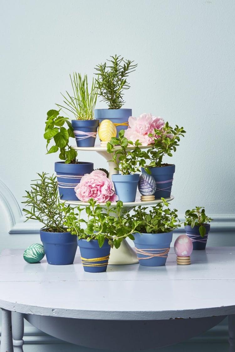Frühlingsdeko selber machen Blumentöpfe verzieren