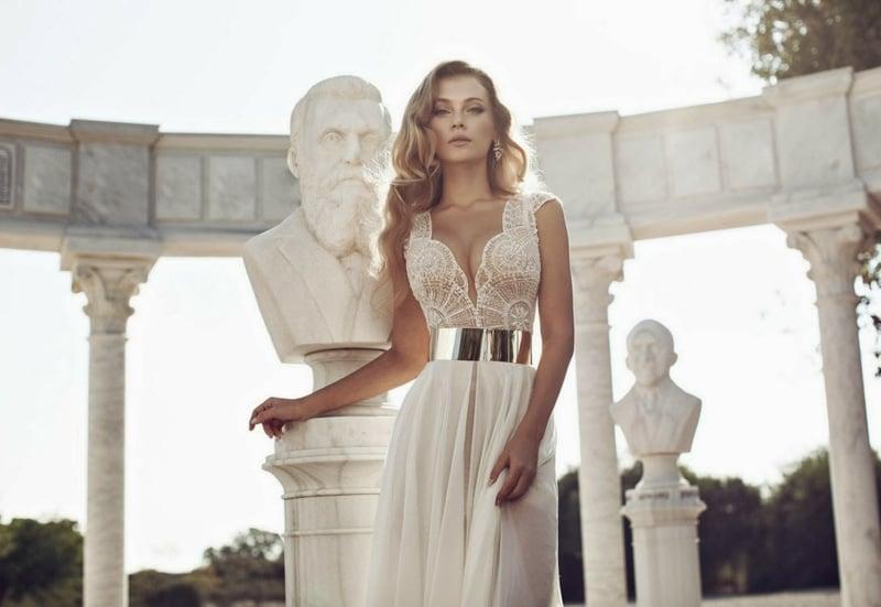 Metallic Hochzeitskleid mit Gürtel