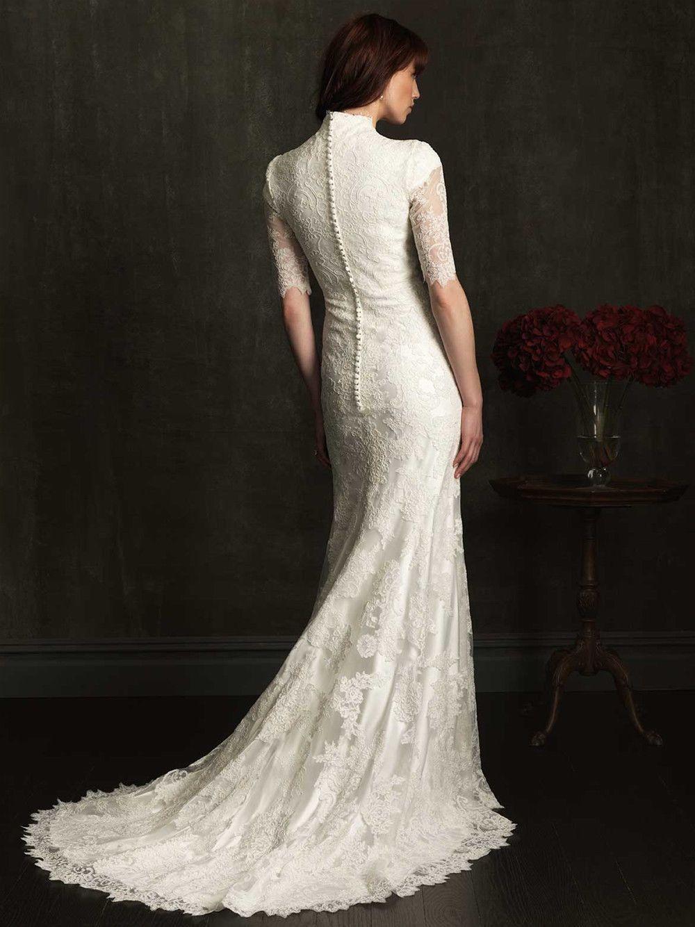 Vintage Hochzeitskleid mit Stehkragen