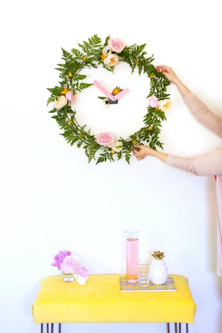 Frühlingsdeko selber machen Blumenkranz