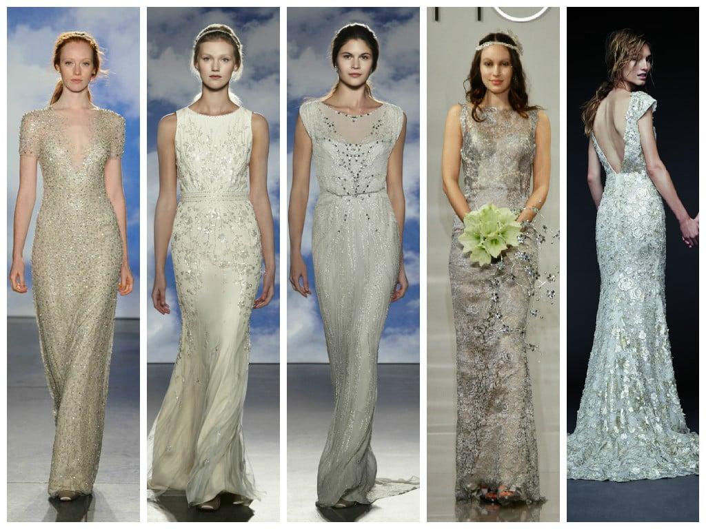 schicke Hochzeitskleider Metallic Effekt
