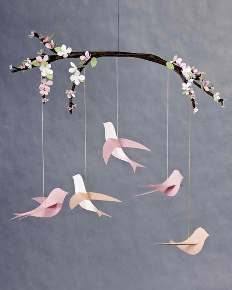 Frühlingsdeko selber machen Origami Tauben