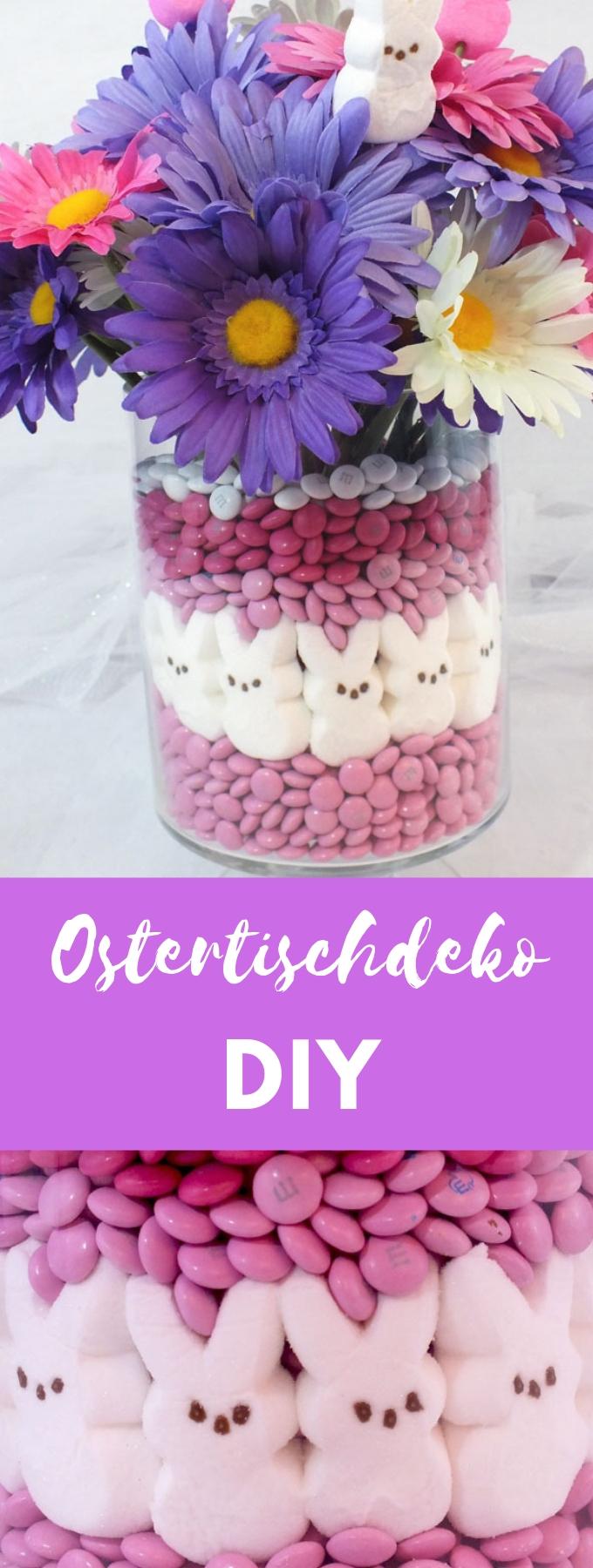 DIY Ostertischdeko Ideen mit Bonbons und Blumen